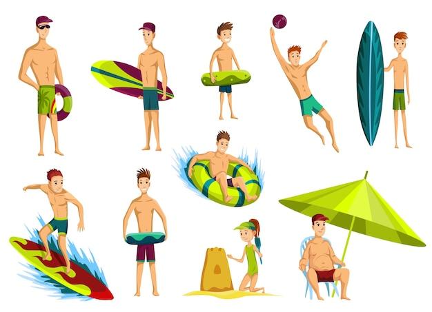 Illustrazione di attività estive in spiaggia
