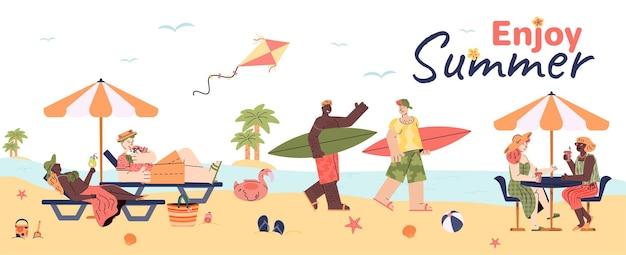 Bandiera della spiaggia di estate con la gente sull'illustrazione piana di vettore della riva del mare isolata