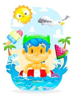 Estate in spiaggia, ragazzo nuotare in spiaggia