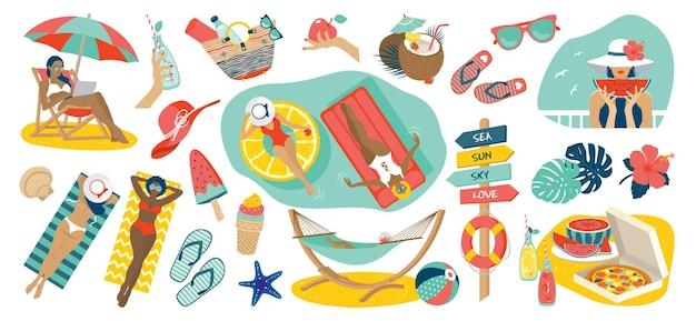 Set luminoso da spiaggia estiva: ragazze, prendere il sole, nuotare, cerchio gonfiabile, cocco, gelato, anguria, cappello, borsa, infradito, amaca, limonata, pizza.