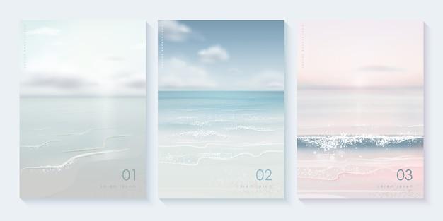 Insieme di modelli di copertura spiaggia estiva