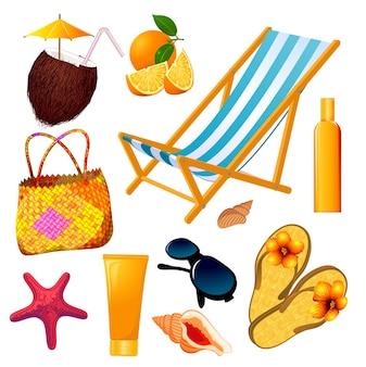 Insieme di elementi di design spiaggia estiva.
