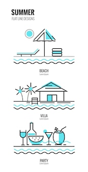 Estate sulla spiaggia. disegno sottile della linea sottile