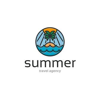 Modello di logo di summer beach island