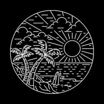 Illustrazione grafica del perno della toppa del distintivo della linea della spiaggia di estate