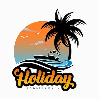 Logo della spiaggia estiva
