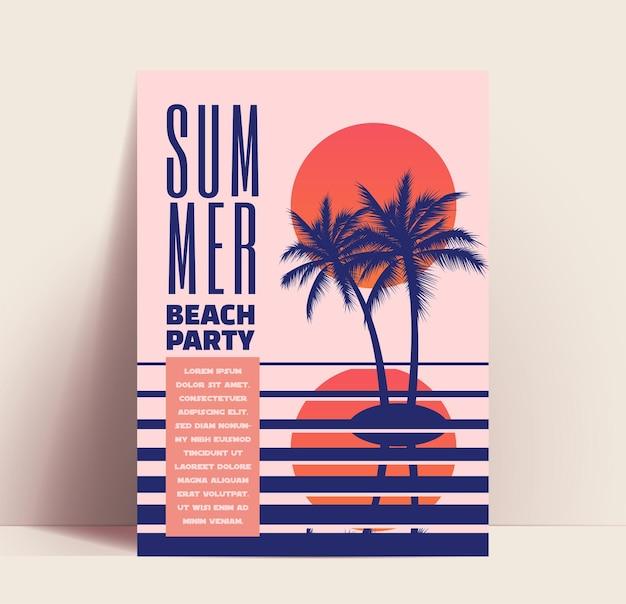 Volantino o poster minimalista per feste in spiaggia estive o modello di design banner con tramonto