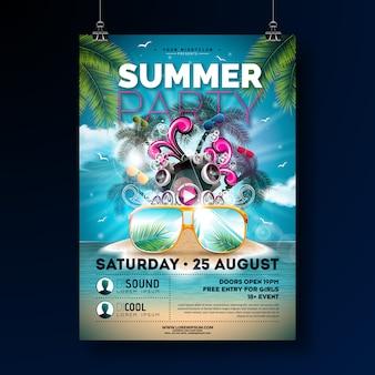 Modello di poster summer beach party progettare con fiori e occhiali da sole.