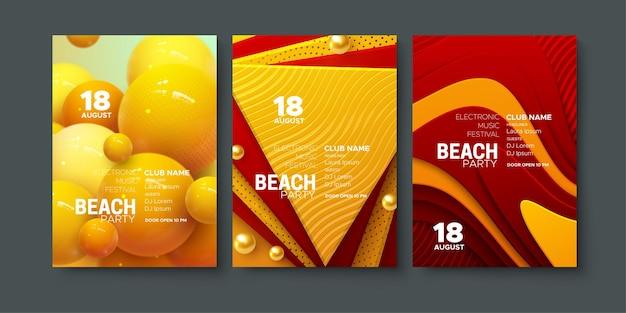 Modelli di poster per feste in spiaggia estiva