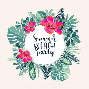 Summer beach party design tropicale giungla