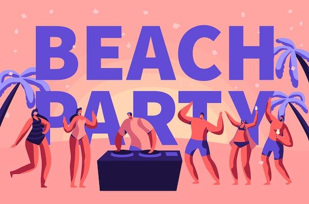 Summer beach party vacation rave tipografia banner. dj club tropicale suona musica per persone all'aperto. carattere danza all'illustrazione piana di vettore del fumetto del manifesto pubblicitario di evento di festa