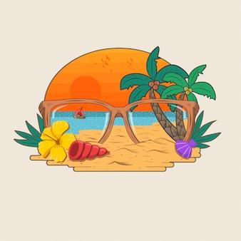 Vettore di festa spiaggia paradiso sabbia e albero di cocco estate
