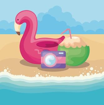 Scena della spiaggia di estate con galleggiante fiammingo e cocco