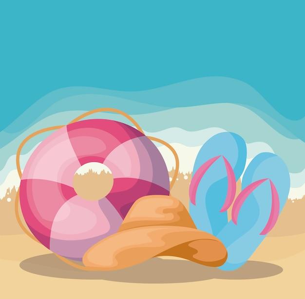 Scena di spiaggia estiva con galleggiante e sandali