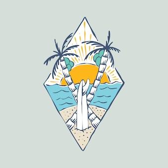 Patch distintivo estivo spiaggia e tramonto
