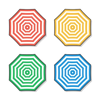 Illustrazione dell'icona di ombrelloni da spiaggia estiva. set di ombrellone piatto icona