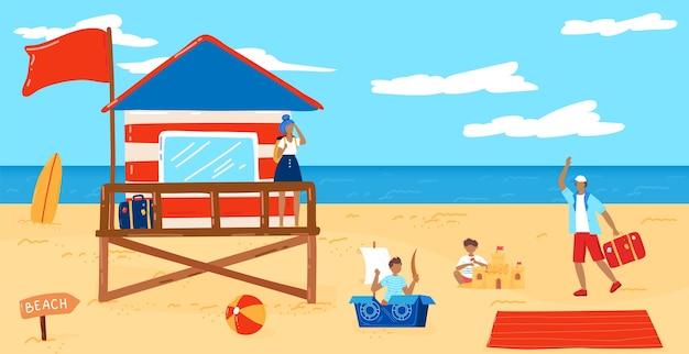 Illustrazione vettoriale di spiaggia estiva. paesaggio di mare spiaggia tropicale piatta del fumetto con stazione della torre del bagnino, bambini che giocano nella sabbia e personaggi turistici, estate