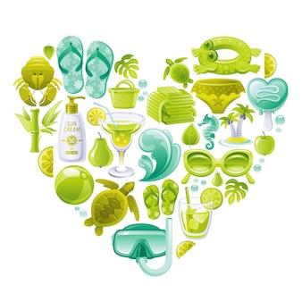 Insieme di vettore della spiaggia di estate, a forma di cuore con simboli del mare verde menta - occhiali da sole, pantofola, onda, gelato, palm island, asciugamani, palla