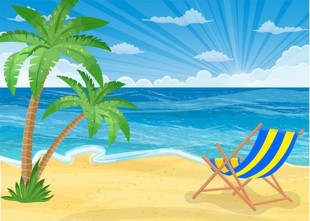Spiaggia estiva con sole, palme e cielo.