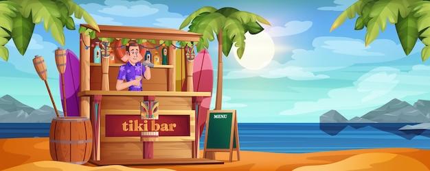 Spiaggia estiva con tiki bar e barman felice. barista del fumetto vettoriale con cocktail e caffè in legno sulla costa del mare sabbioso. riva dell'oceano tropicale con palme. bar capanna con maschere tribali e bevande.