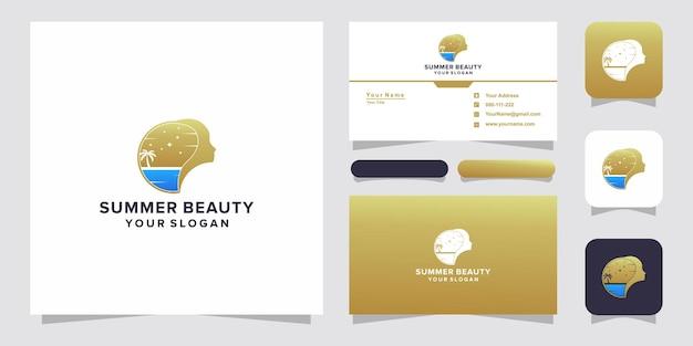 Logo e biglietto da visita del viso di bellezza estiva