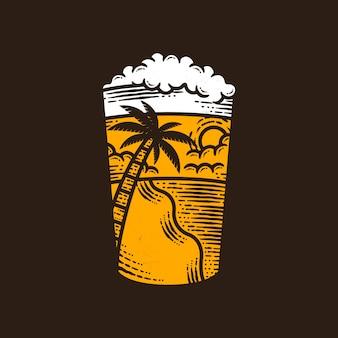 Illustrazione dell'annata di vetro di birra di estate