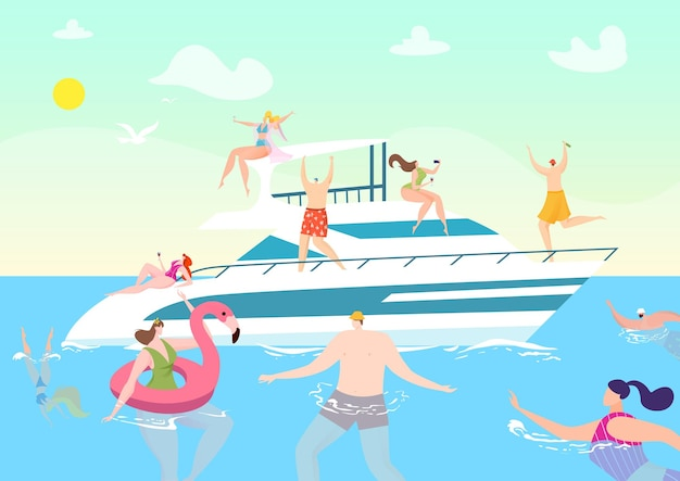 Viaggio in barca estivo in vacanza, persone all'illustrazione di crociera in yacht sull'oceano