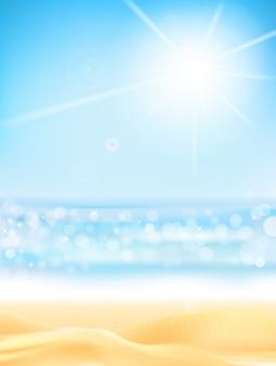 Bokeh estivo con spiaggia di sabbia effetto luce