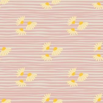 Modello senza cuciture botanico estivo con semplici forme di fiori di camomilla gialla