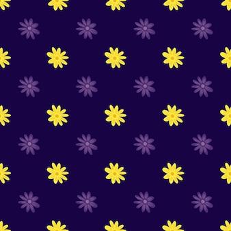 Reticolo senza giunte di botanica estiva con stampa margherita di fiori gialli di doodle. sfondo viola scuro. progettazione grafica per carta da imballaggio e trame di tessuto. illustrazione di vettore.