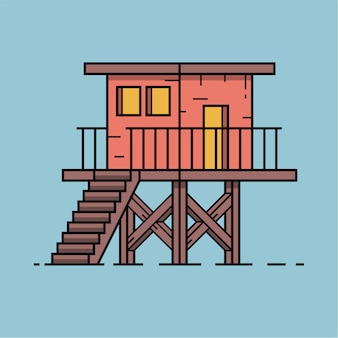 Icona del bungalow di estate nel disegno di assieme. illustrazione di capanna sulla spiaggia.