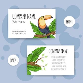 Biglietto da visita estivo con uccello tucano. stile cartone animato.