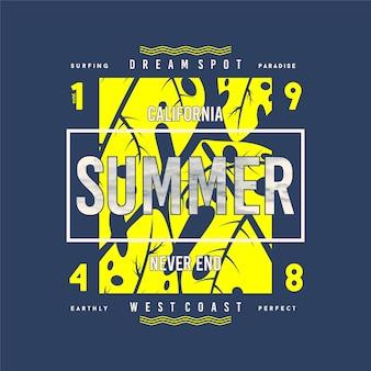 Vettori di grafica t-shirt con foglie illimitate dell'avventura della california dell'estate