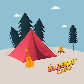 Concetto di campo estivo con tenda rossa, chitarra, falò, alberi su sfondo blu e beige.