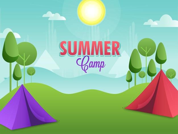 Concetto di campo estivo con tenda a due colori sullo sfondo del paesaggio naturale del sole.