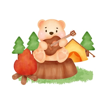 Elementi del campo estivo e simpatico orso