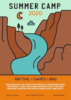 Volantino campo estivo formato a4. poster di avventura in campeggio con montagne, fiume e testo.