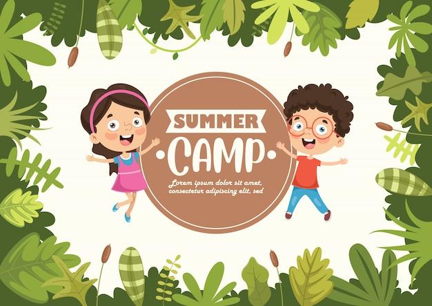 Summer camp kids con cornice naturale
