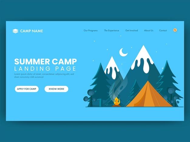 Pagina di destinazione del campo estivo con falò, illustrazione della tenda sullo sfondo del paesaggio naturale.