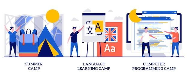 Campo estivo, lezione di apprendimento delle lingue, concetto di corso di programmazione informatica con persone minuscole. illustrazione di vettore dell'estratto di vacanza dei bambini. attività educative estive per la metafora dei bambini.