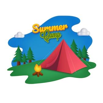 Disegno del manifesto del campo estivo con falò, tenda rossa e alberi su sfondo astratto.