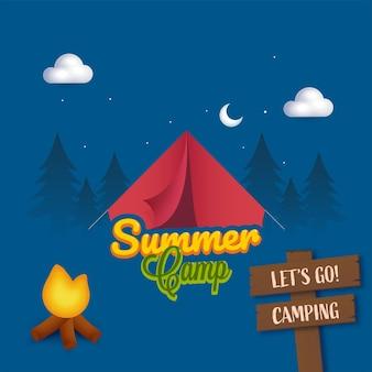 Disegno del manifesto del campo estivo con falò, tavola di legno e tenda su sfondo blu notturno.
