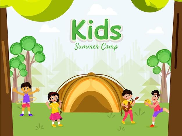 Disegno del manifesto del campo estivo con bambini che si divertono insieme su sfondo naturale.