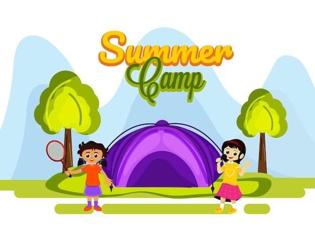 Disegno del manifesto del campo estivo con bambine che godono su sfondo astratto della natura.