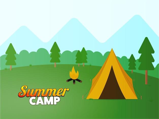 Disegno del manifesto del campo estivo con illustrazione della tenda, falò sullo sfondo del paesaggio della natura.