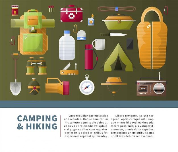 Campeggio estivo ed elementi escursionistici con modello di testo