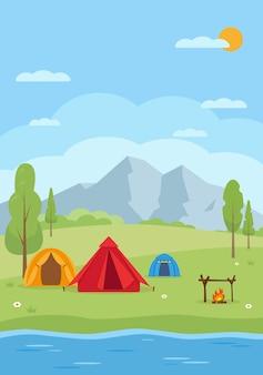 Fondo di progettazione del fumetto del paesaggio del campeggio estivo