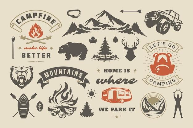 Insieme di elementi di design di campeggio estivo e avventure all'aria aperta