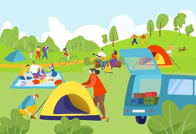 Campeggio estivo all'aperto Vettore Premium