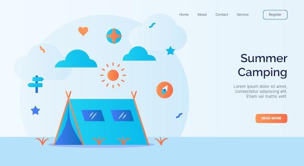 Campagna estiva per tenda da campeggio bussola icona sole per banner modello di atterraggio home homepage sito web con disegno vettoriale stile piatto del fumetto